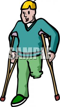 Amputee on Crutches.