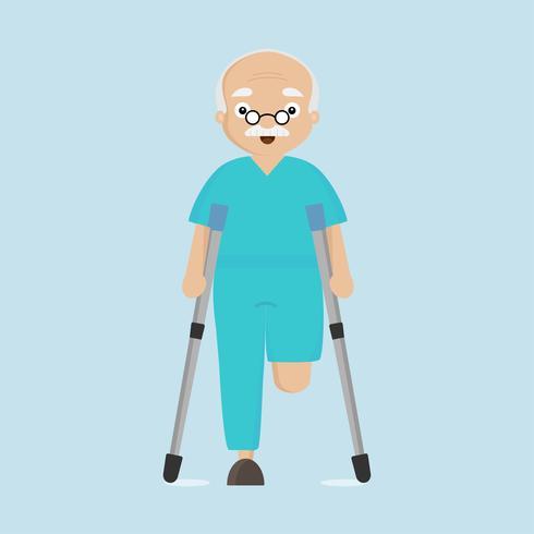 Amputee senior man on crutches..