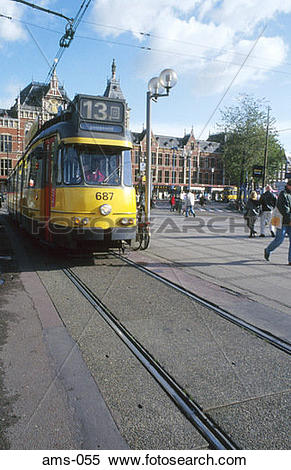 Stock Image of Tram outside Amsterdam Central Station Holland ams.