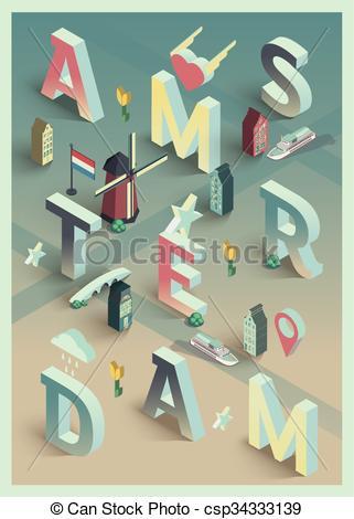 Vectors of 3d isometric vector typographic amsterdam poster.
