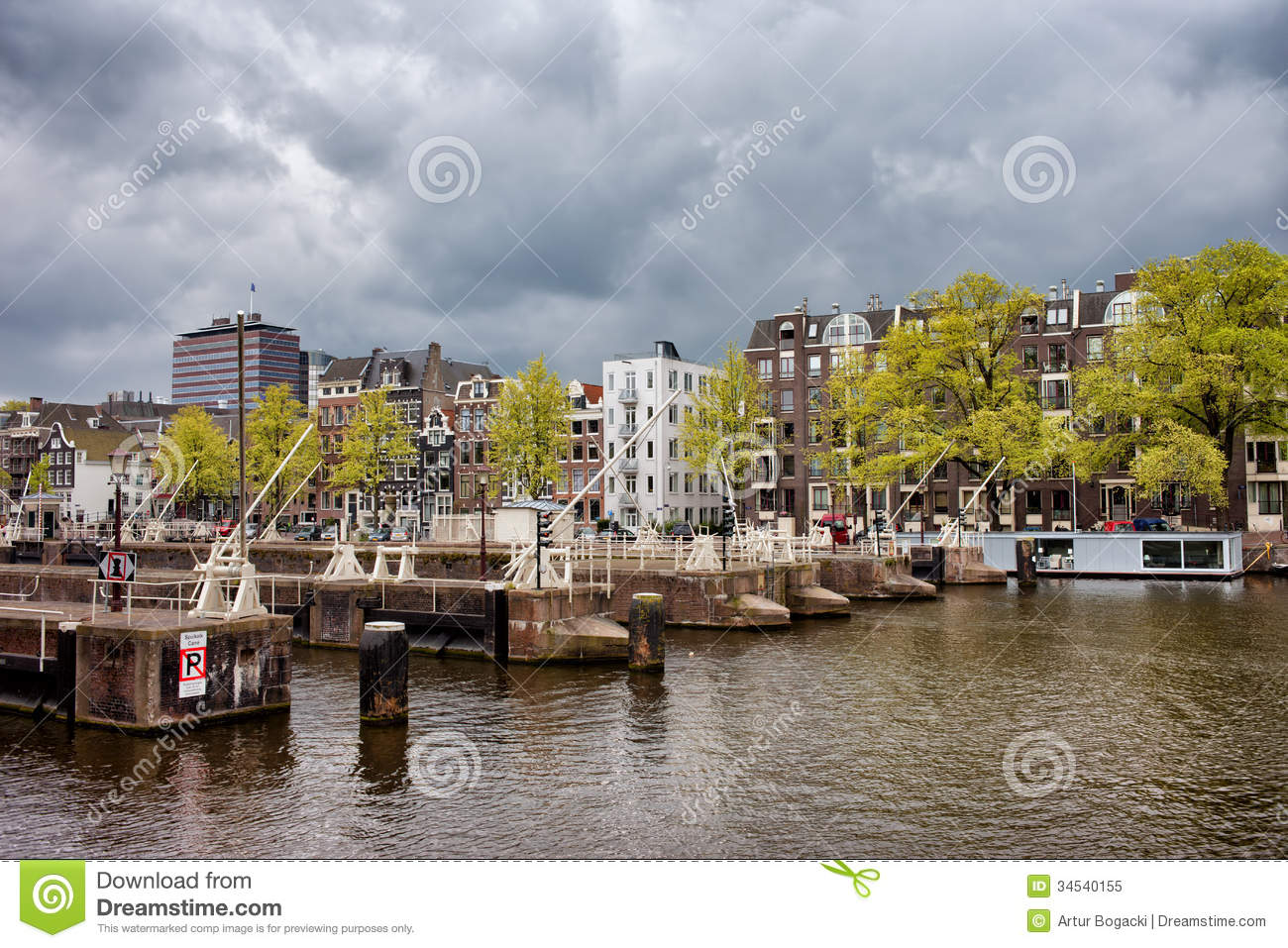 Amsterdam Skyline From The Amstel River Royalty Free Stock Photo.