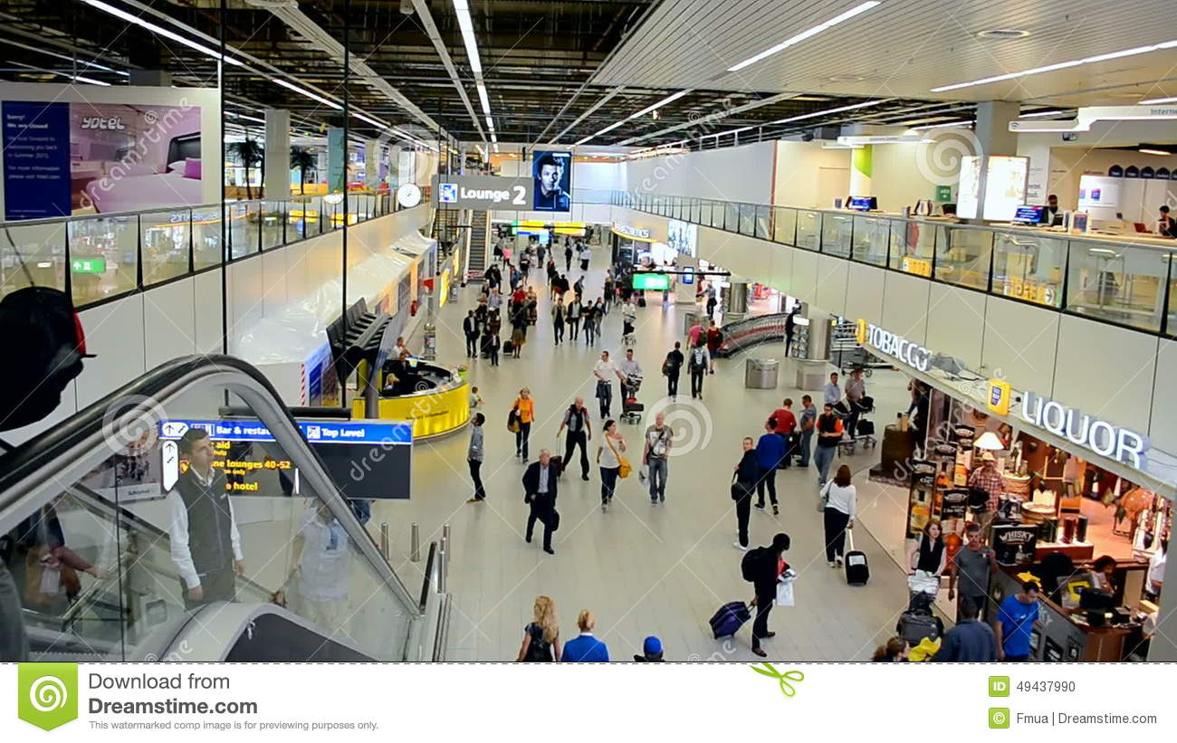 Amsterdam Airport Schiphol Interior, Netherlands, Stock Footage.