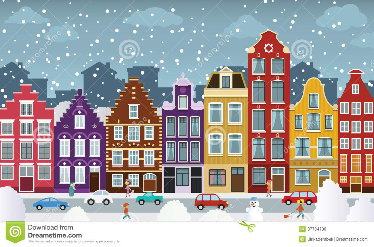 City Illustration (Amsterdam) Royalty Free Stock Photography.
