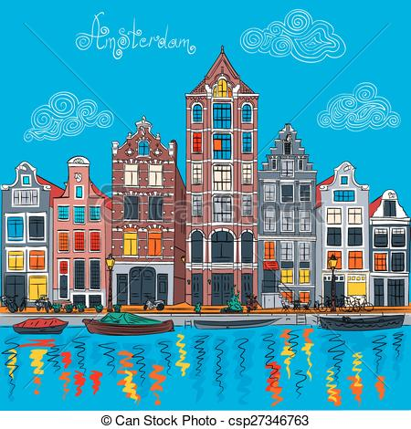 Clip Art Vector of Vector Amsterdam canal and typical dutch houses.