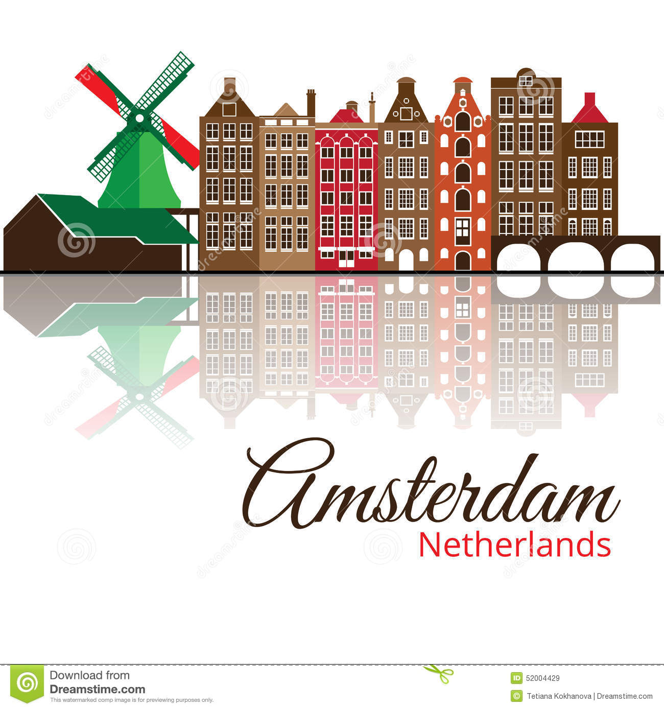 Colorized Silhouette Of Amsterdam. City Skyline. Stock Vector.