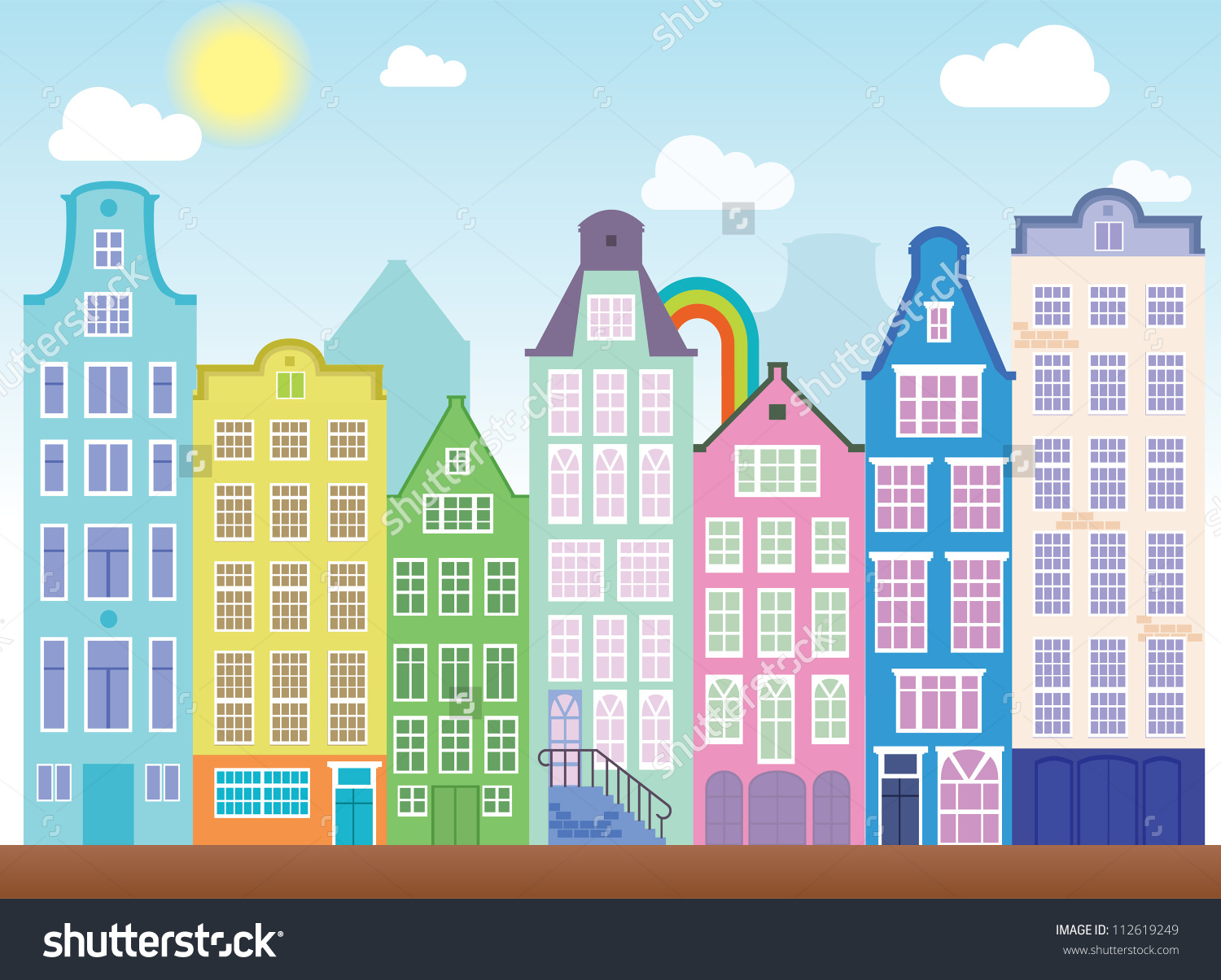 Old Colourful Buildings Amsterdam Stock Vector 112619249.