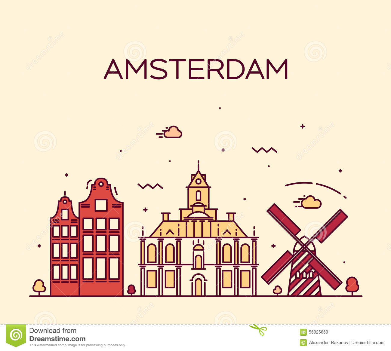 Amsterdam City Skyline Trendy Vector Line Art Stock Vector.
