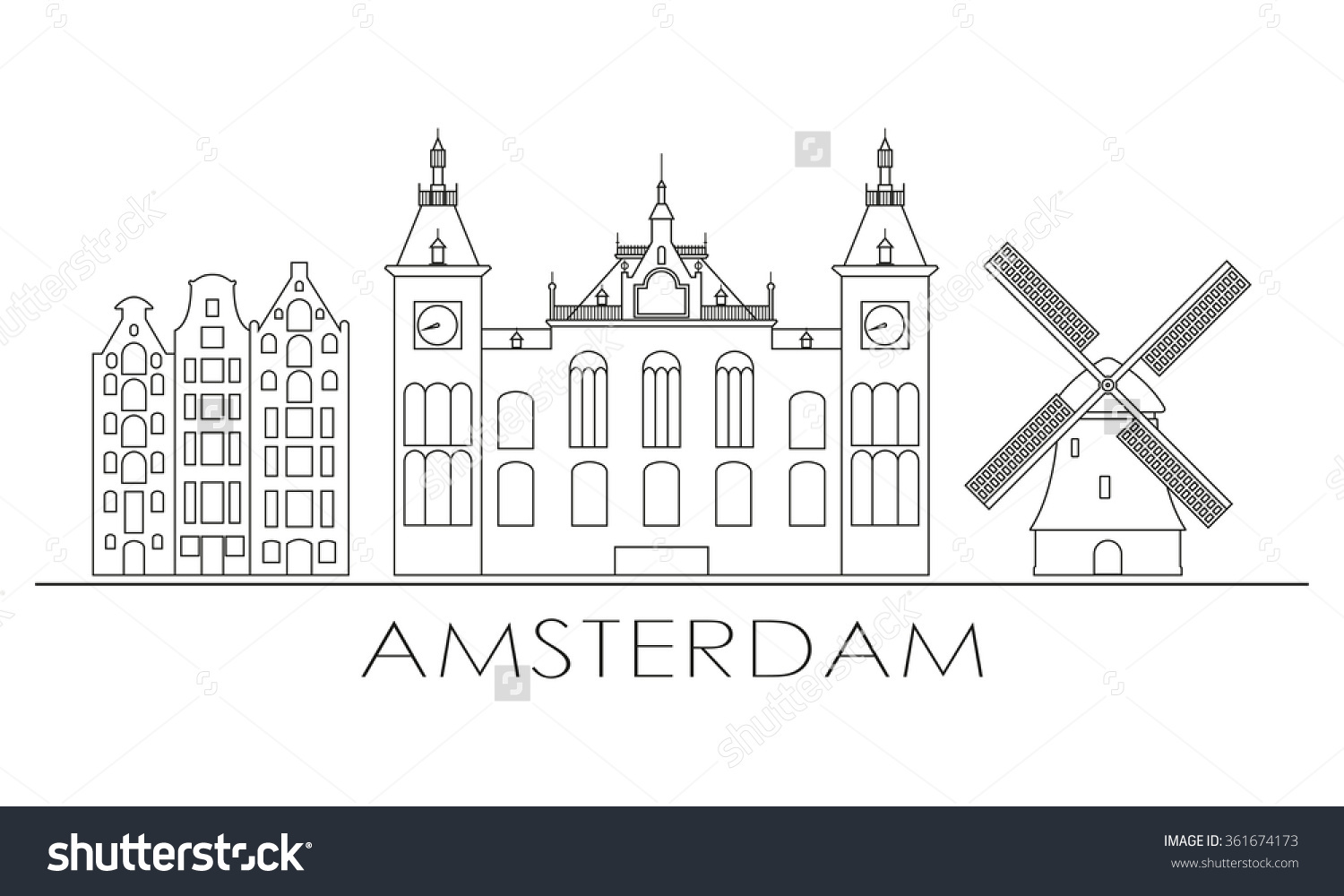 Amsterdam City Skyline Design Amsterdam Outline Stock Vector.
