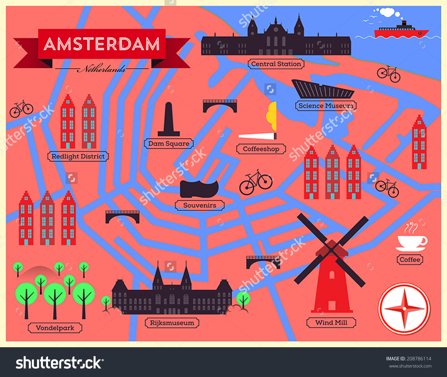 City Map Illustration Amsterdam Landmarks Vector Stock Vector.