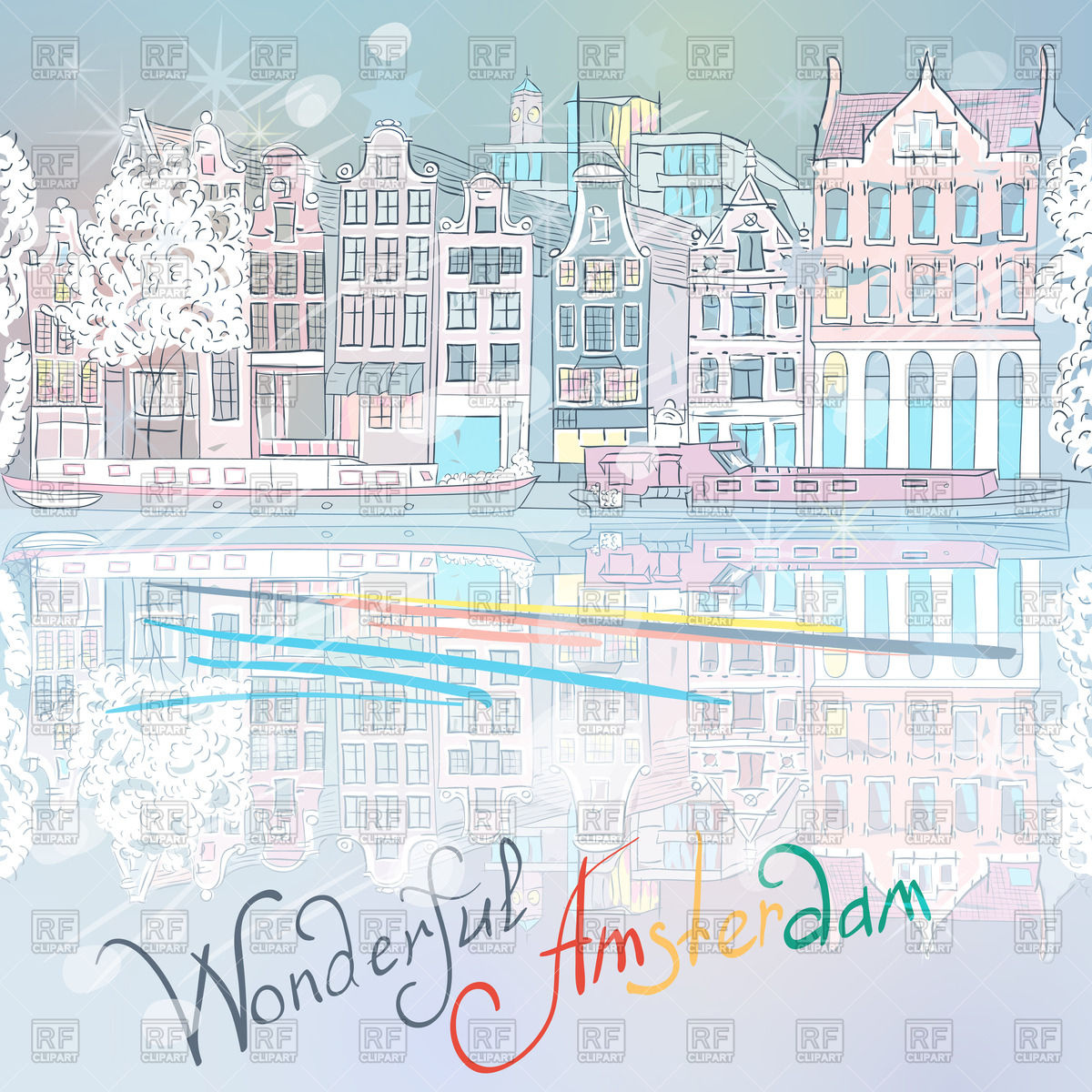 Sketch of winter city view of Amsterdam canal Vector Image #45068.