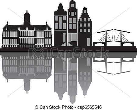 Clip Art Vector of amsterdam skyline.