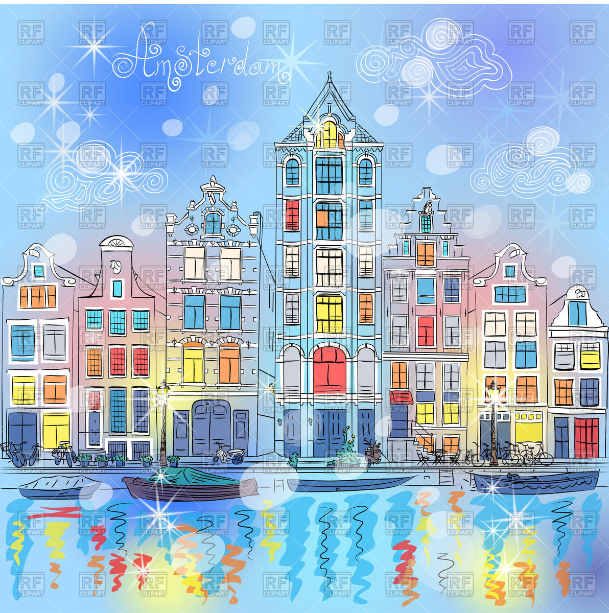 Christmas city view of Amsterdam canal Vector Image #70721.
