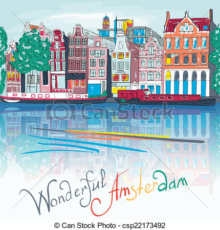 Vector Clipart of Vector night city view of Amsterdam canal and.