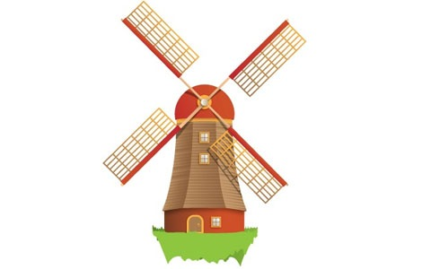 Dutch Windmill Clipart.