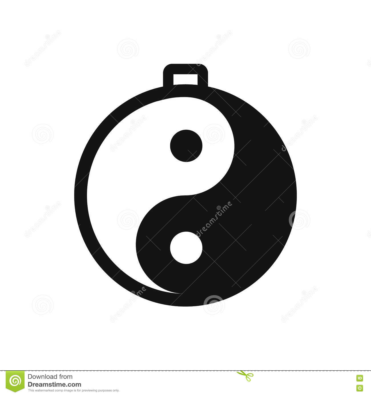 Amulet Of Yin Yang Icon Stock Vector.