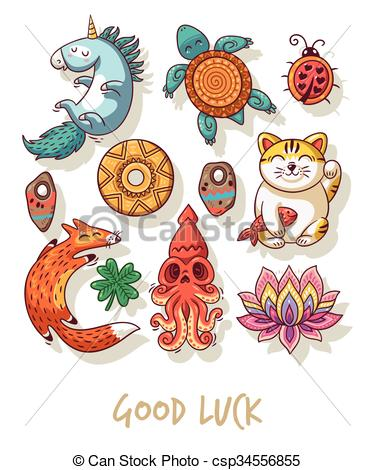 Clipart Vector of Good Luck. Lucky amulets and happy symbols set.