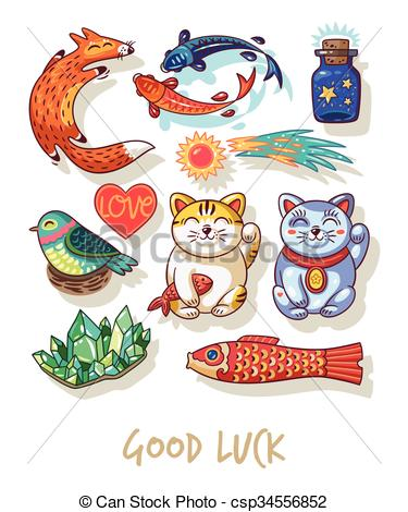 Clipart Vector of Good Luck. Lucky amulets and happy symbols.