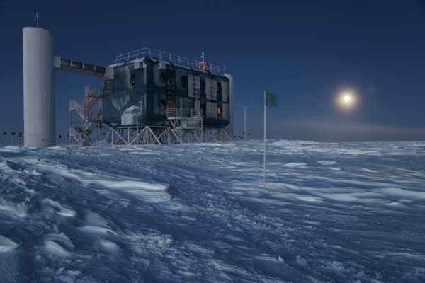 In an undated handout photo, the IceCube Neutrino Observatory, the.