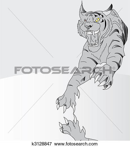Clip Art of Amur tiger. Vector illustration k3128847.