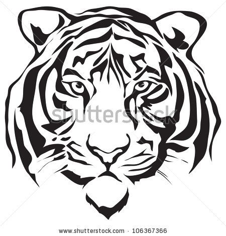White siberian tiger clipart.