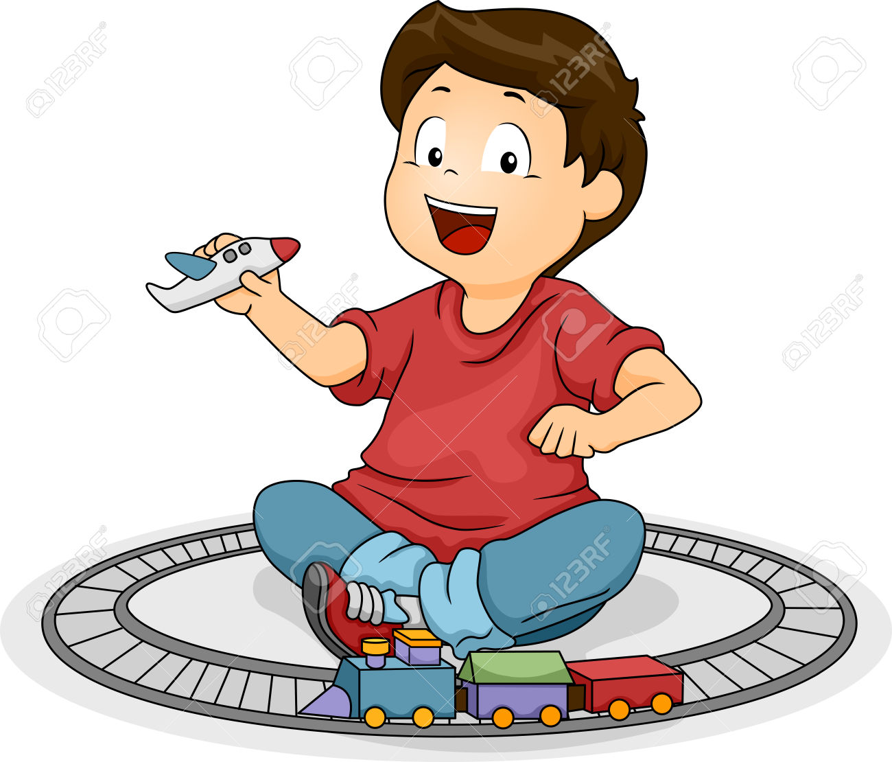 Illustration Of A Kid Boy Playng With His Toys Stock Photo.