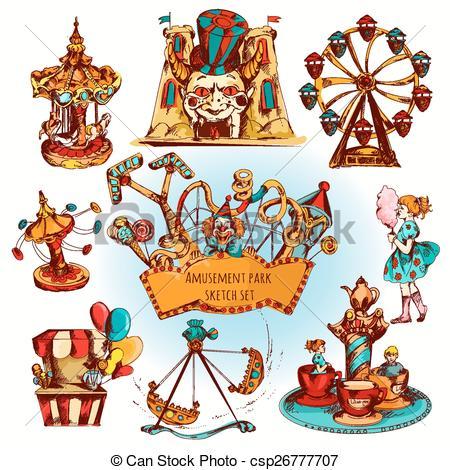 Vector Clipart of Amusement Park Colored Set.