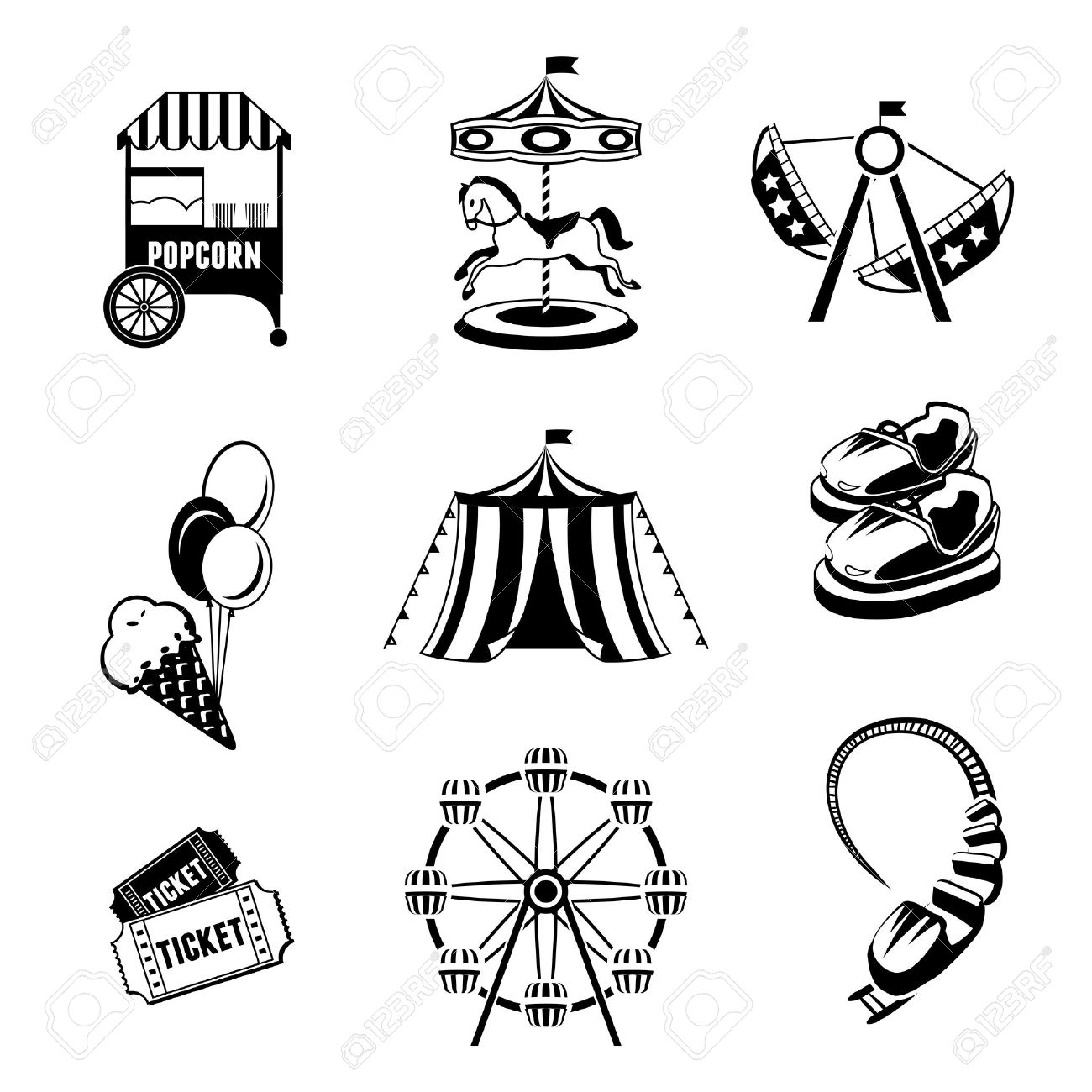 Amusement Entertainment Park Black And White Icons Set Isolated.