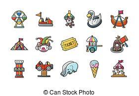 Vector Illustration of Amusement Park Icons Set.