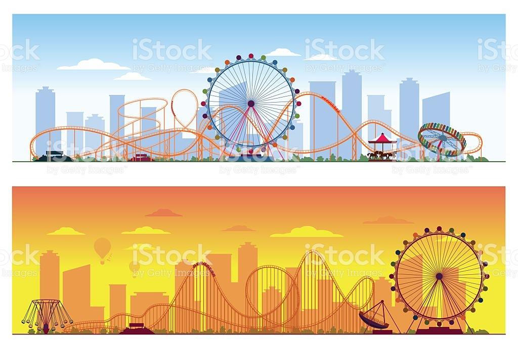 Luna Park Concept Amusing Entertainment Amusement Colored.