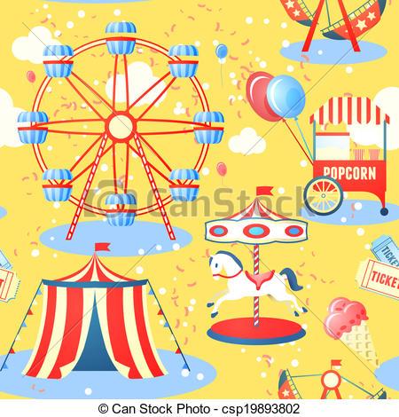 Vector Clipart of Amusement park seamless pattern.