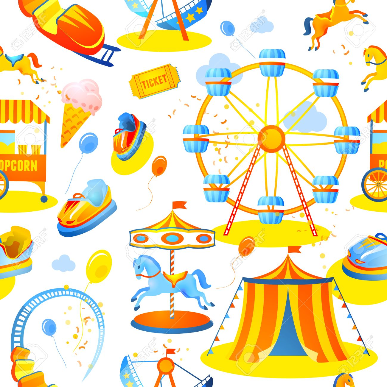Amusement Entertainment Park Seamless Pattern With Tent Cars.