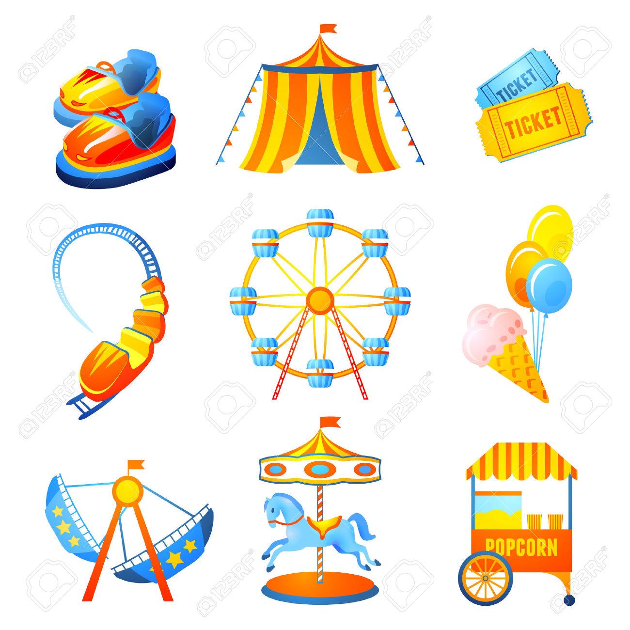 Amusement Entertainment Park Icons Set With Ferris Wheel.