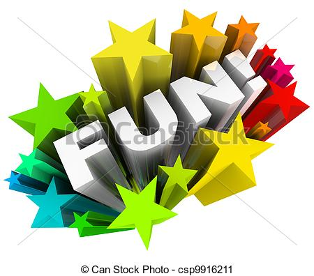 Clipart of Fun Word Stars Starburst Entertainment Amusement.