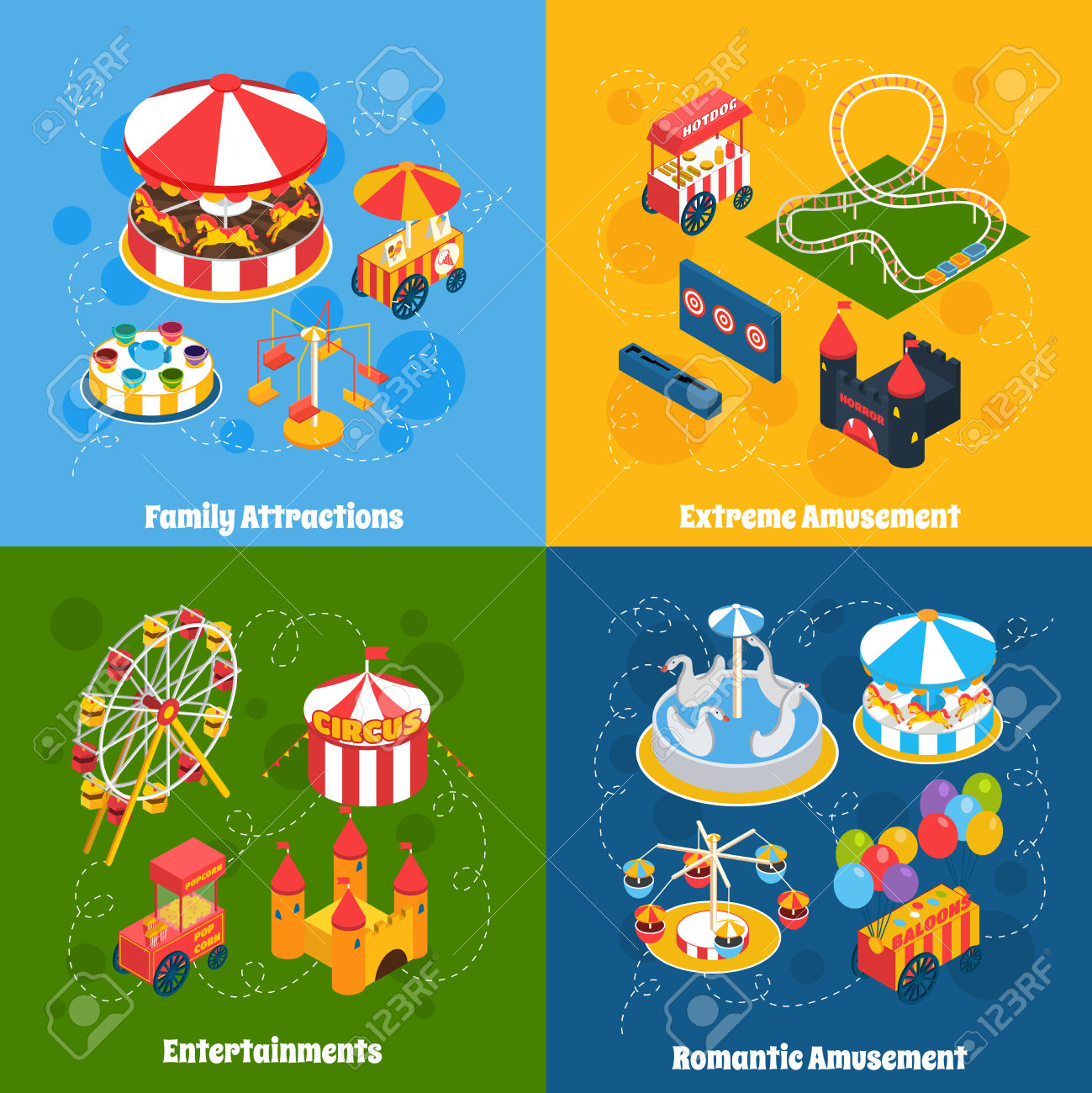 Amusement Park Isometric Set With Family Attractions Extreme.