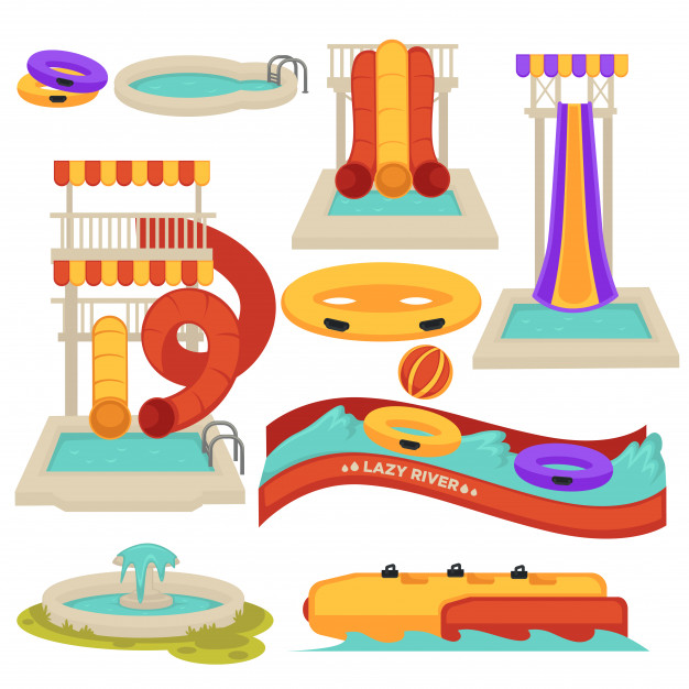 Aquapark water slides and amusement park attractions vector.