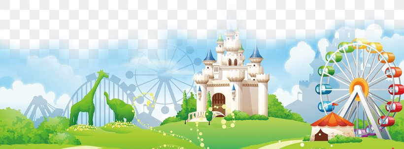 Amusement Park Cartoon Clip Art, PNG, 1914x709px, Park.