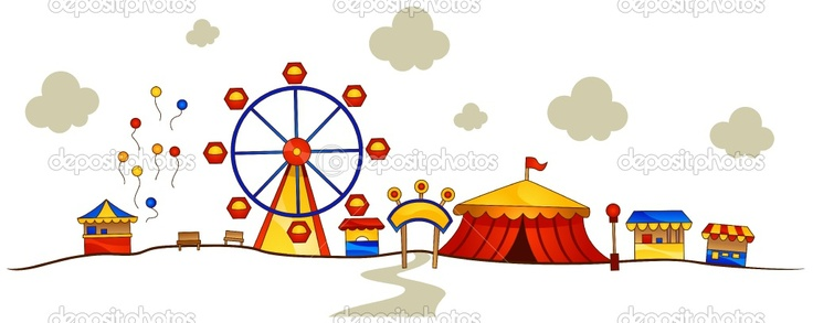 Amusement park clipart with kids.