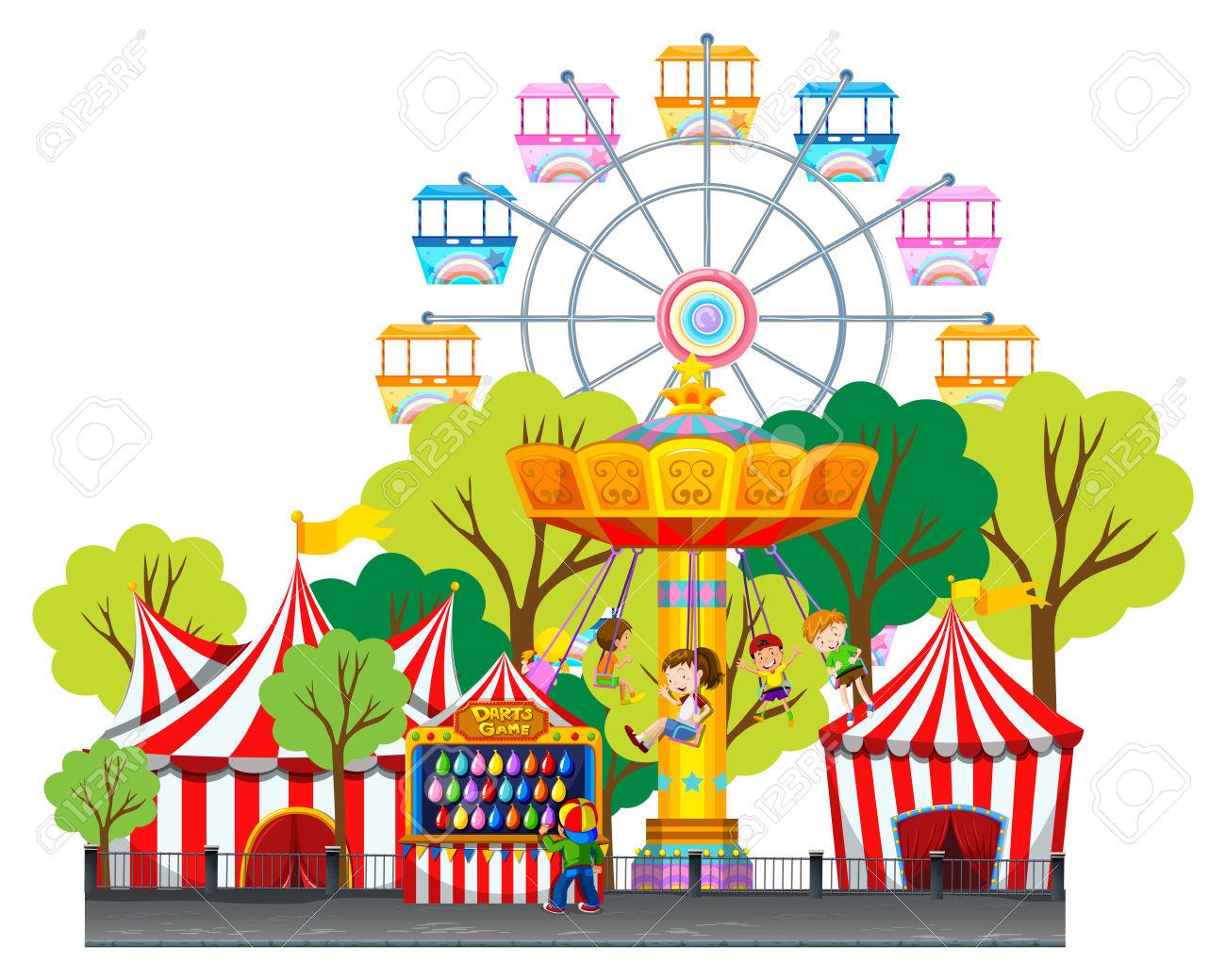 Amusement park clipart with kids.