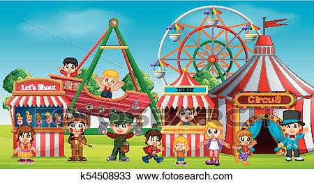 Childrens and people having fun in amusement park Clipart.