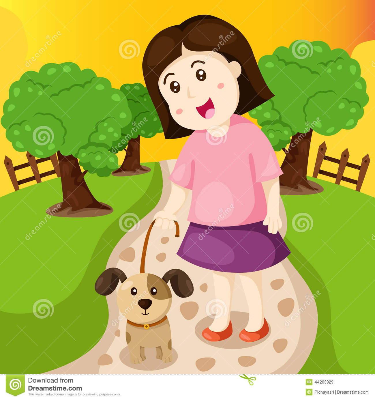 Girl In The Park Clipart.