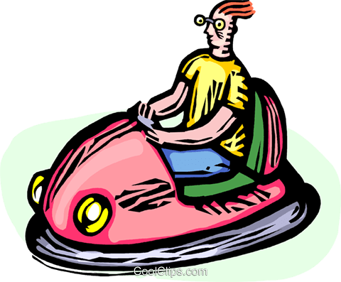 man in a bumper car Royalty Free Vector Clip Art.