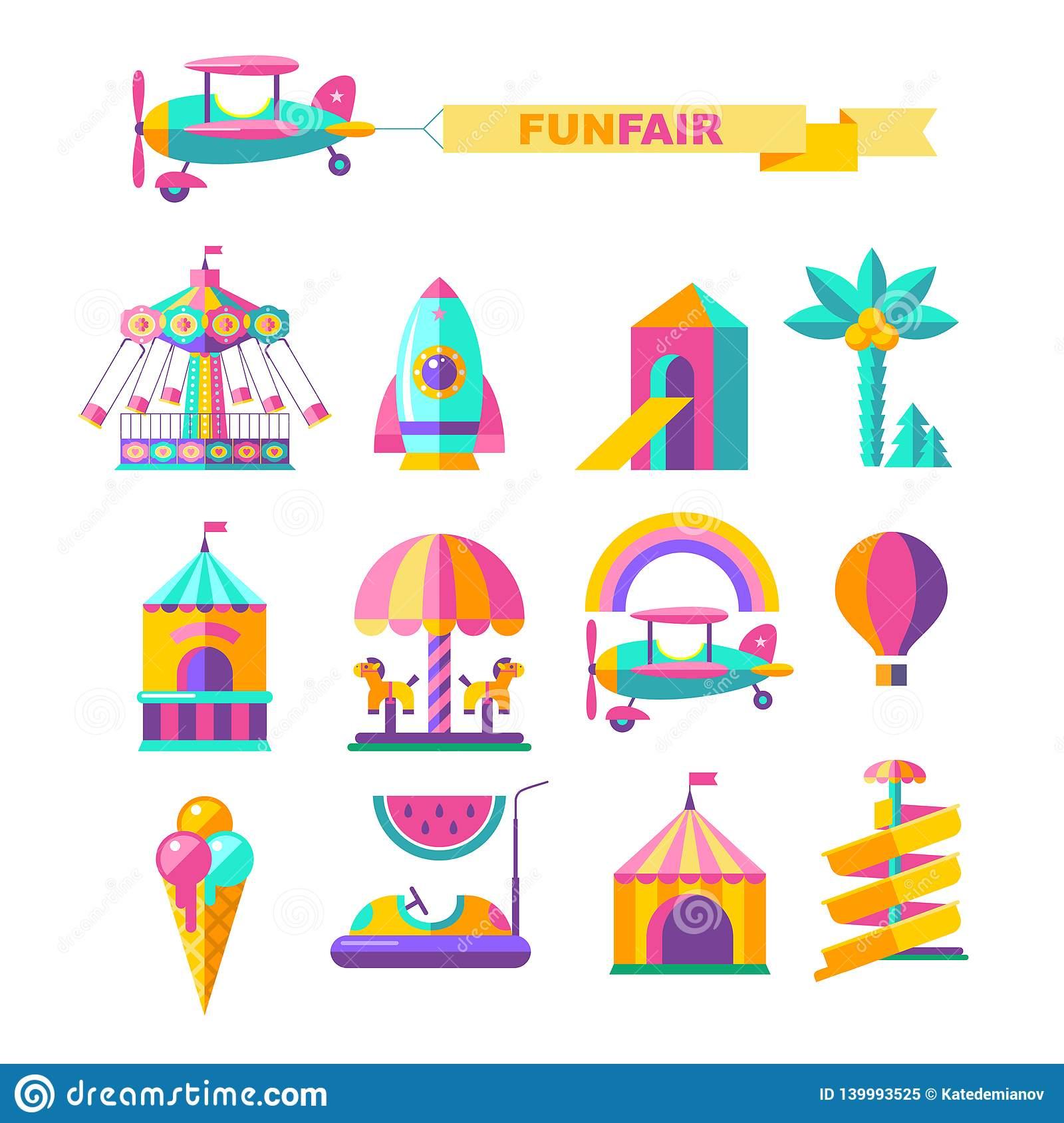 Amusement Park, Rides. Vector Illustration Stock Vector.