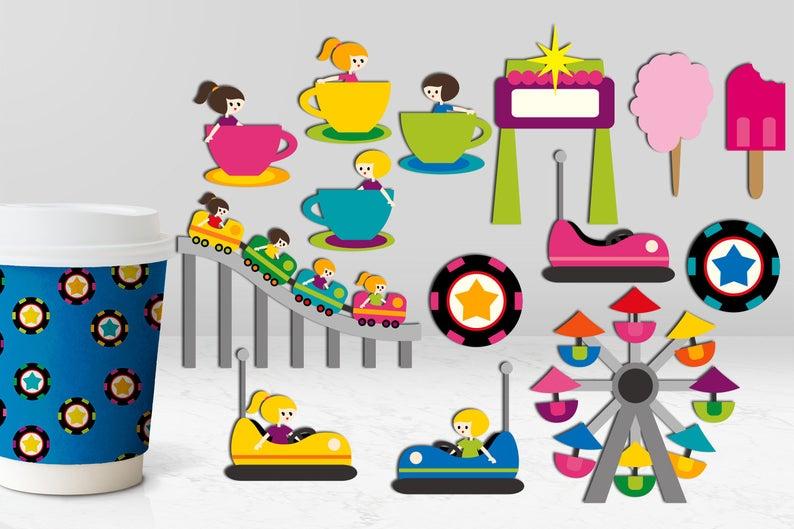 Amusement Park Rides Clip art. Roller coaster, boom boom car, ferris wheel.  Carnival playground clipart.