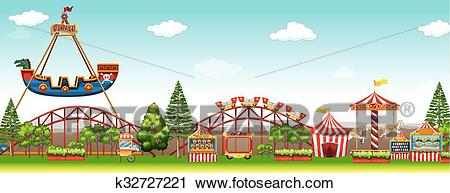 Amusement park with many rides Clipart.