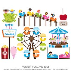 Illustrations drawings amusement parks.