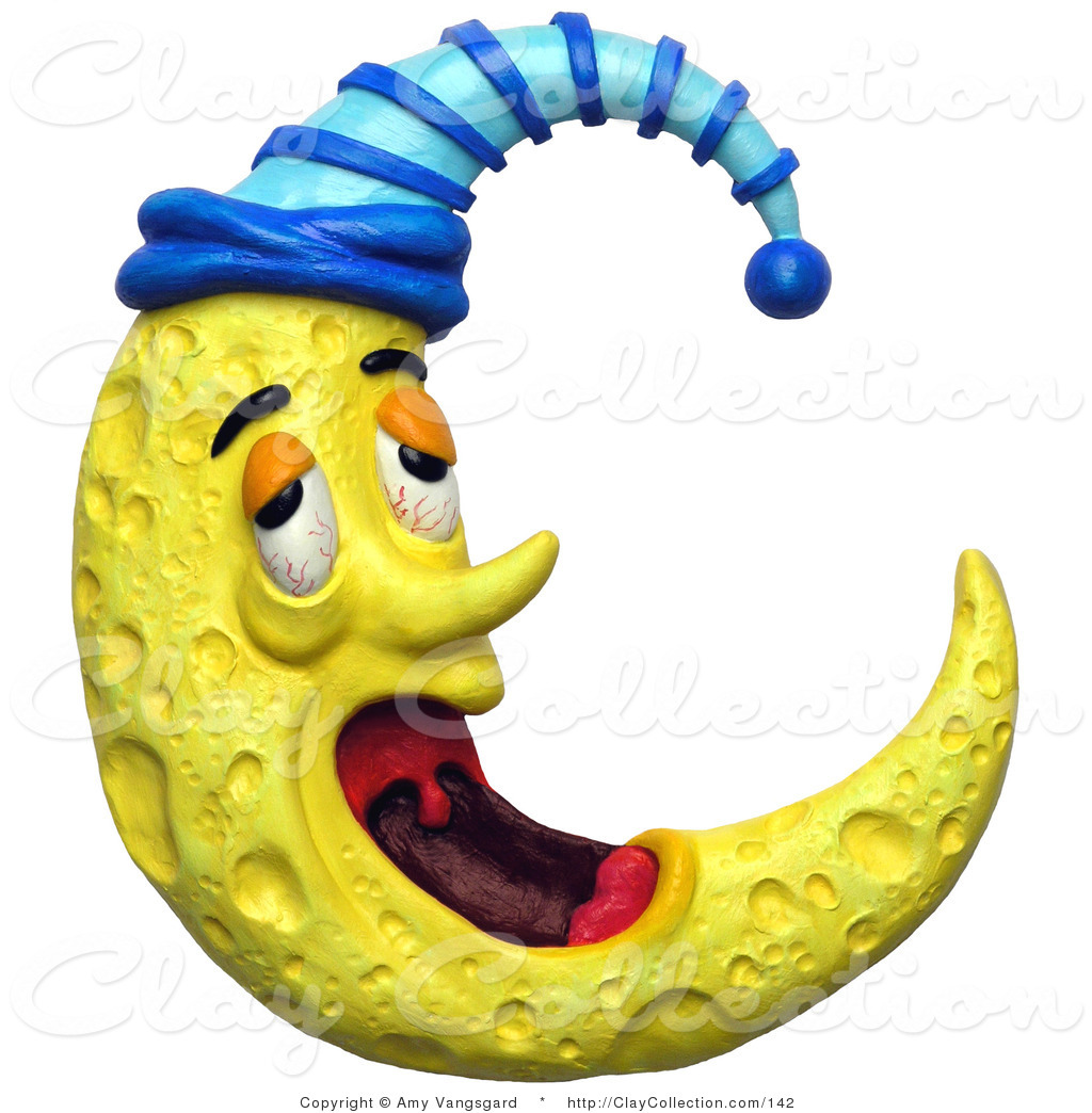 Clay Illustration of a 3d Yawning Tired Crescent Moon with a.