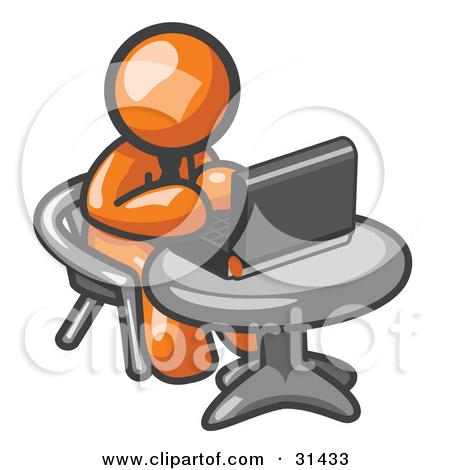 Clipart man at computer.