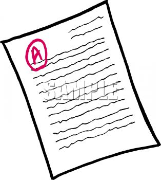 Royalty Free Clipart Image: Graded School Paper with an A.