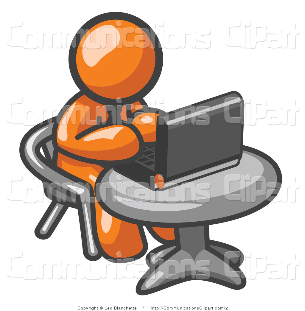 Clipart man using computer.