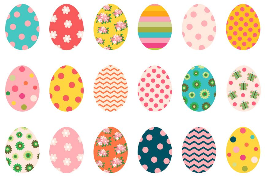 Colorful cute Easter eggs clipart set.